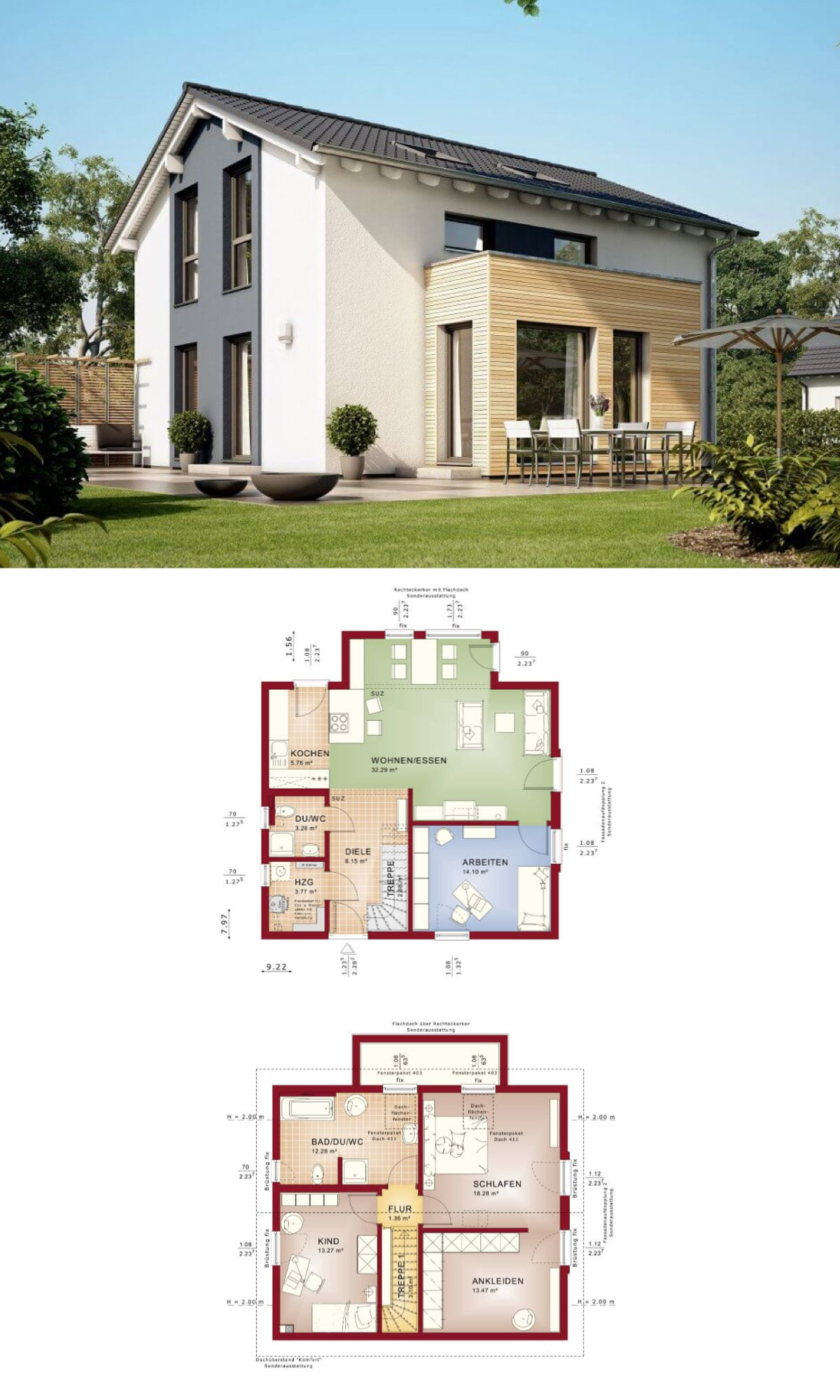 modernes einfamilienhaus haus solution 124 v6 living haus fertighaus bauen grundriss 5 zimmer - Fertighausplne