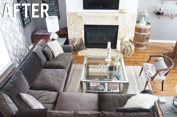 Before After Kristen S Dallas Living Room Sectional Living Room Layout Trendy Living Rooms Living Room Furniture Arrangement