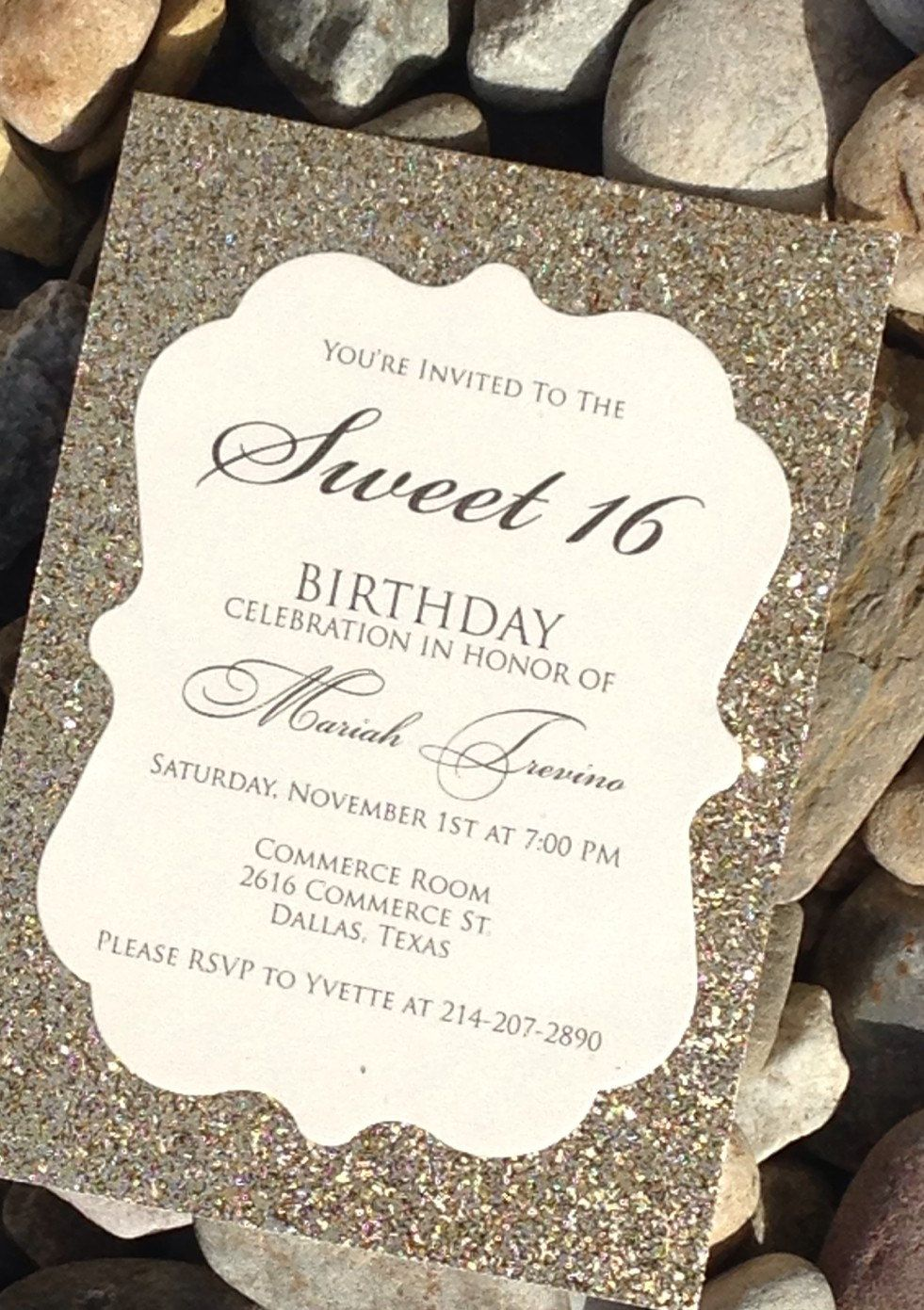 Dazzle Your Guests With This Gold Glitter Invitation Bridal Shower
