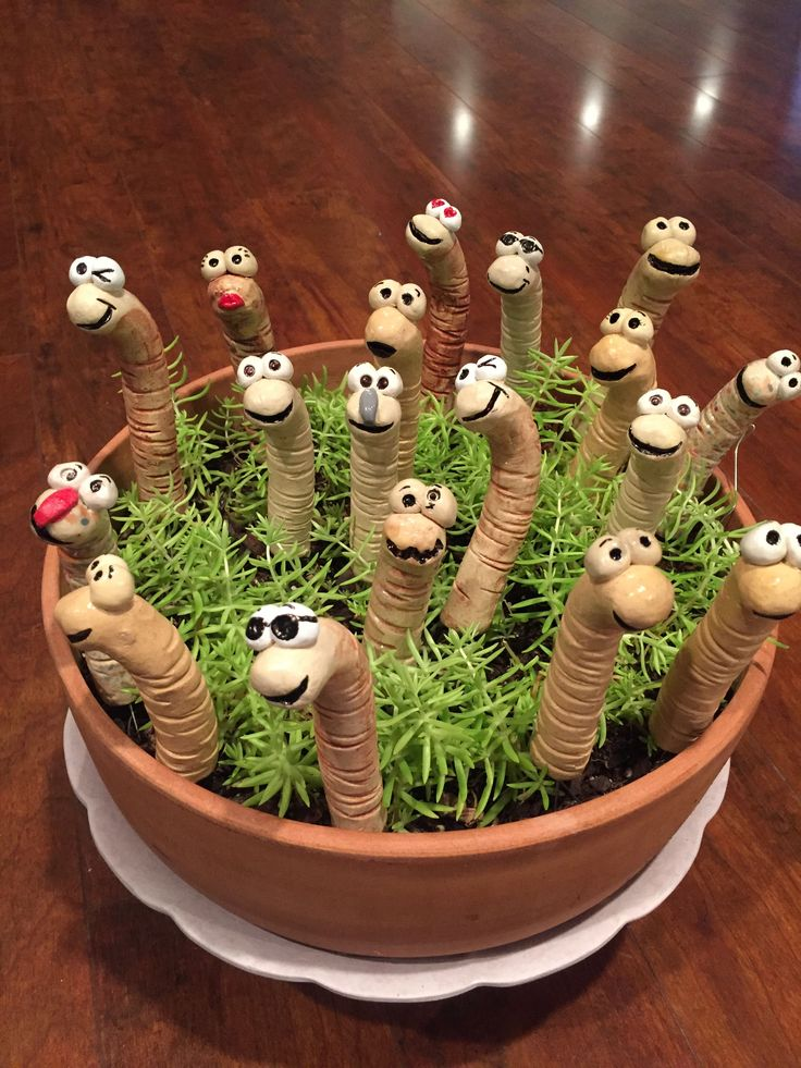 Photo of petit ver drôle fait à la main pour ma plante en pot – Jardin Miniature Idee