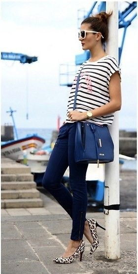 nautical look with leopard pumps.