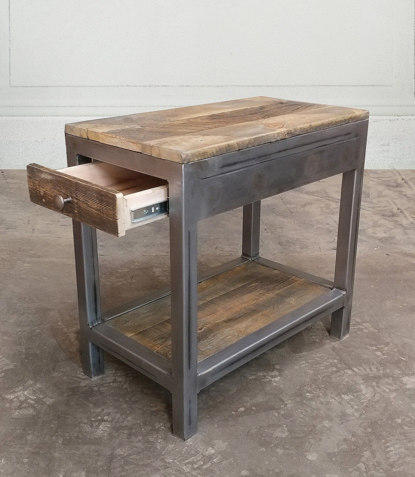 Reclaimed Wood And Metal End Table With Storage Metal End Tables End Tables With Drawers End Tables With Storage