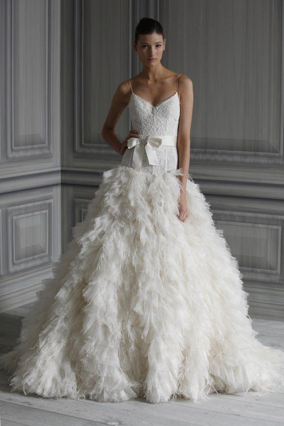 A Feather Themed Wedding | Monique lhuillier, Wedding dress and ...