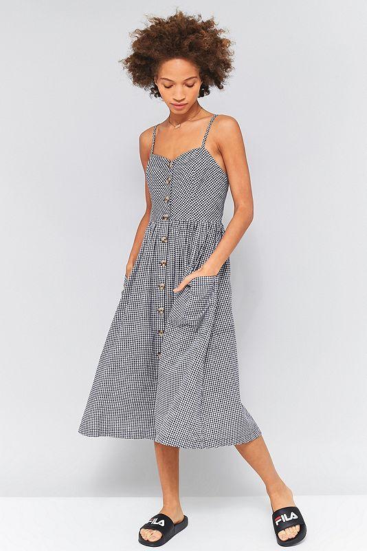 Midi kleid mit knopfleiste