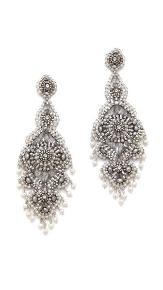 Miguel Ases Pyrite Chandelier Earrings/faceted crystals, cultured freshwater pearls