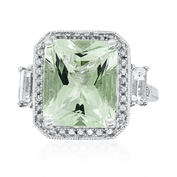 Green Amethyst & Lab-Created White Sapphire Ring in Sterling Silver