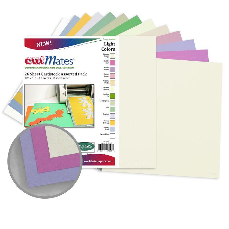 CutMates Multi-Colored - Light Colors Card Stock - 12 x 12 in 65 lb