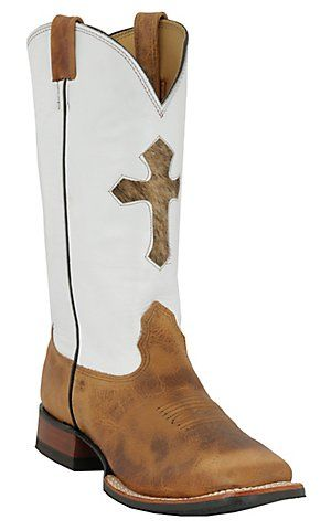 Larry Mahan® Mens Sand Brown Bison w/ White Top & Hair Cross Square Toe Western Boot | Cavenders Boot City