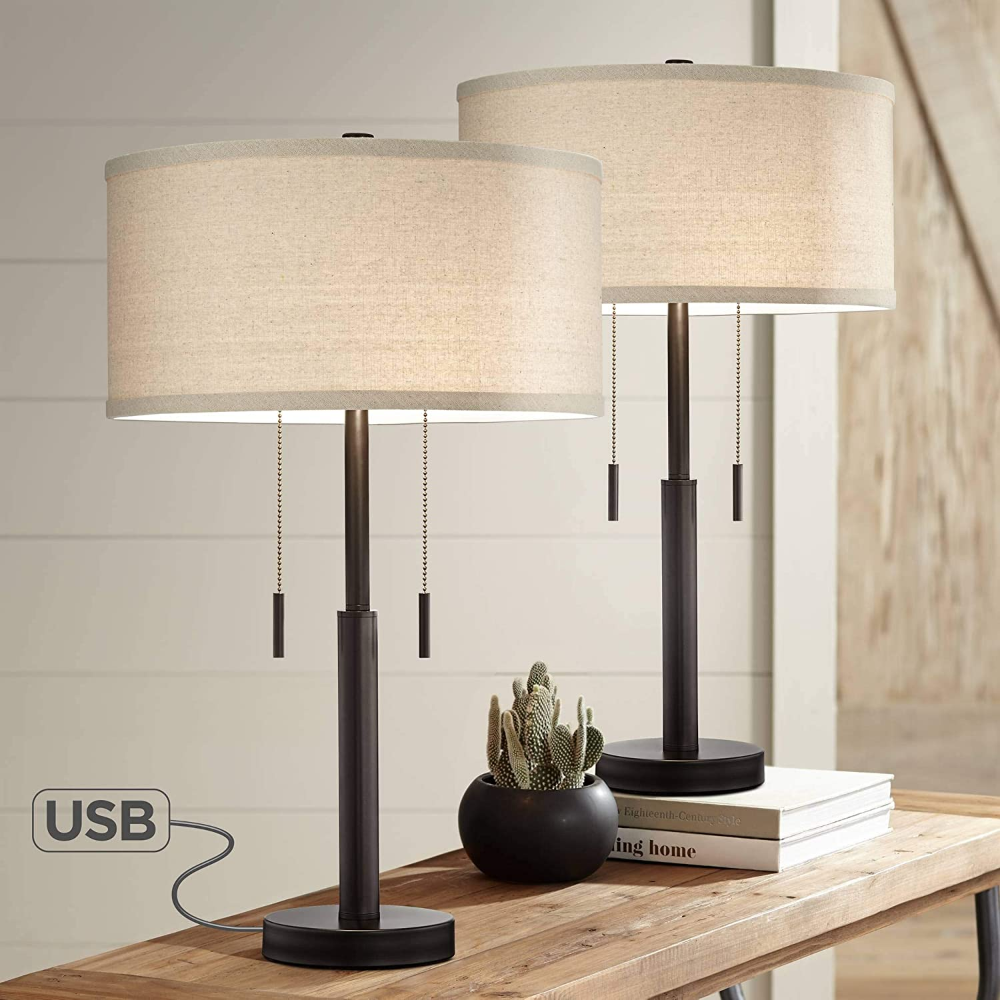 bernie industrial table lamps set of 2 with hotel style