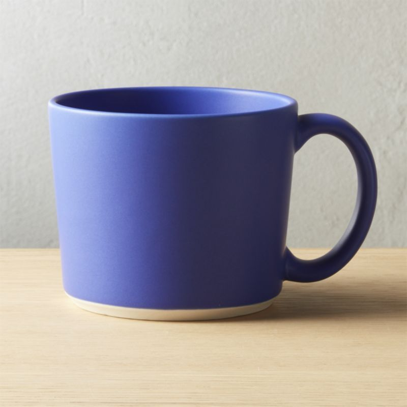 Shop Eddie Blue Mug Clean Minimal Stoneware Mug With Oversized Handle Is Finished In A Bright Pop Of Matte Blue To Really Unique Coffee Mugs Mugs Modern Mugs