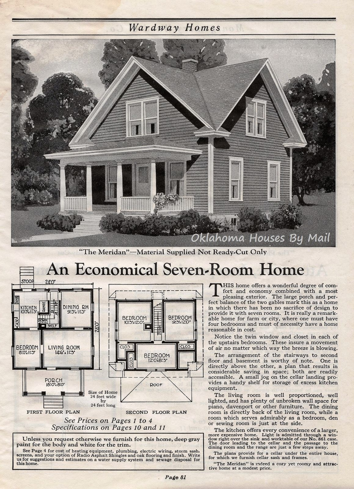 Wardway 1923 Pg81 Farmhouse Floor Plans Cottage Floor Plans Historic Homes