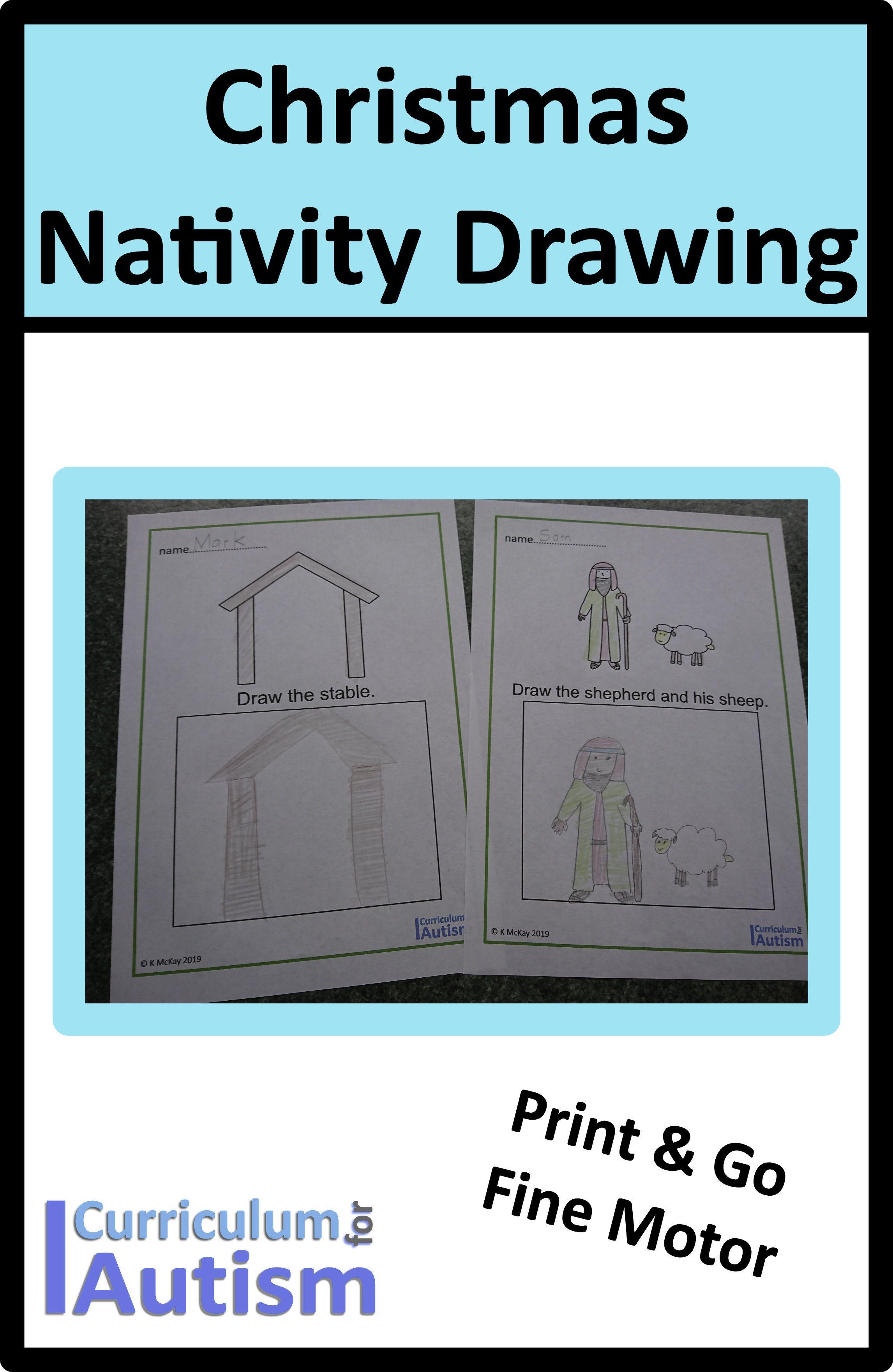 Christmas Nativity Drawing Worksheets