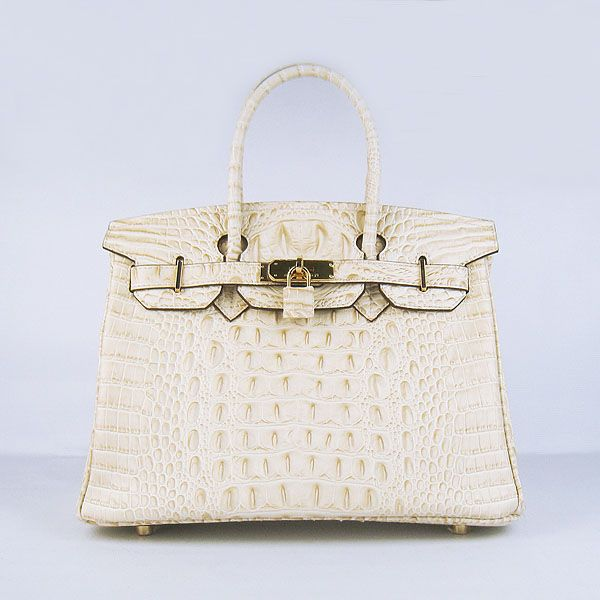 Hermes Birkin Bag 30 Crocodile Head Gold Hardware Parchemin/Parchment Beige