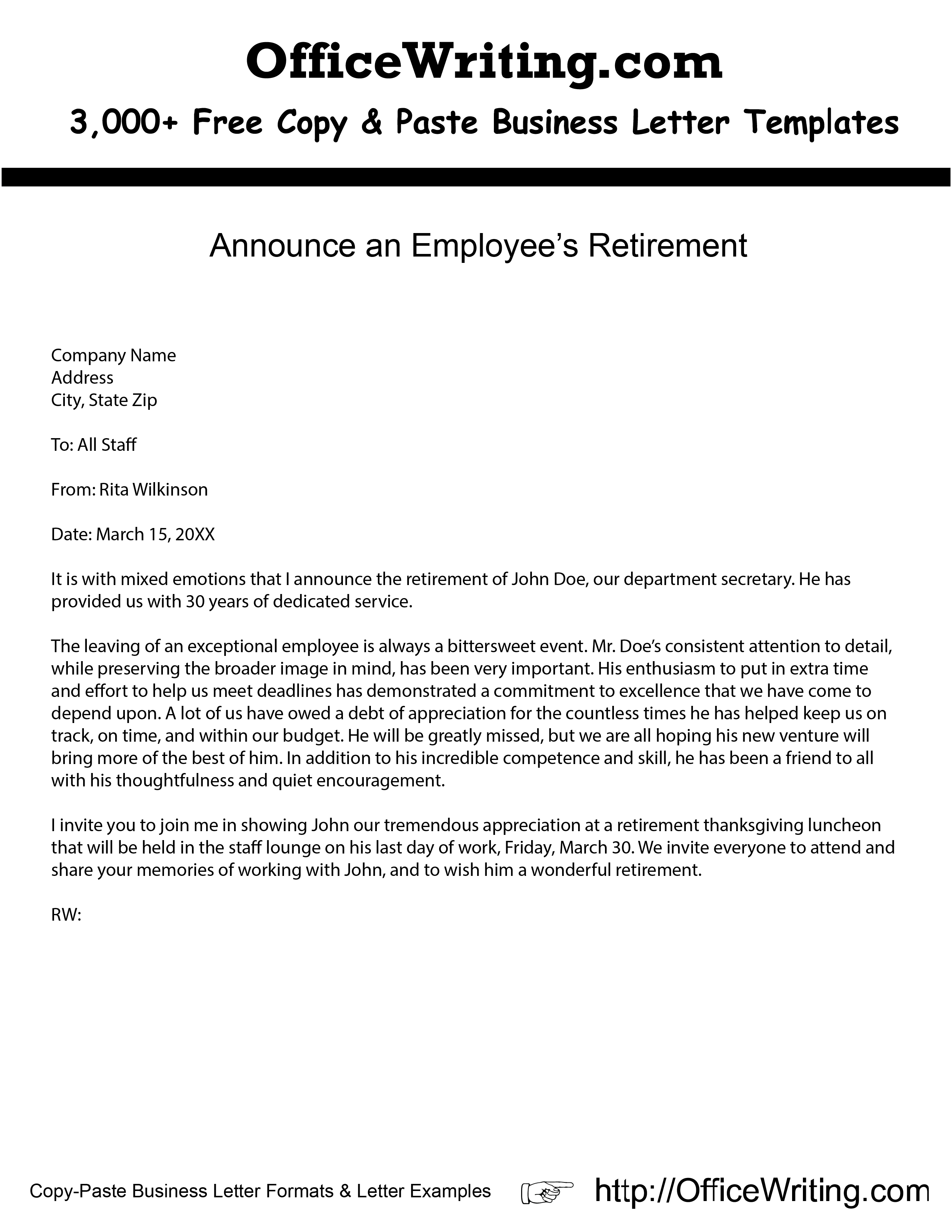 Announce an Employees Retirement We have over 3000 free sample