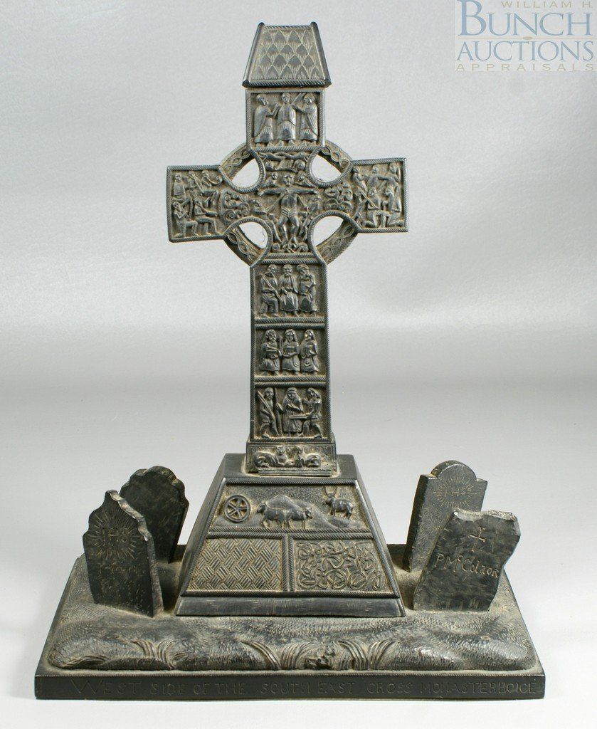 Irish Celtic sculpture depicting the West side of the southeast cross, monaster boice, provenance with date of 1867 on base, possibly signed to right tombstone P McColaor