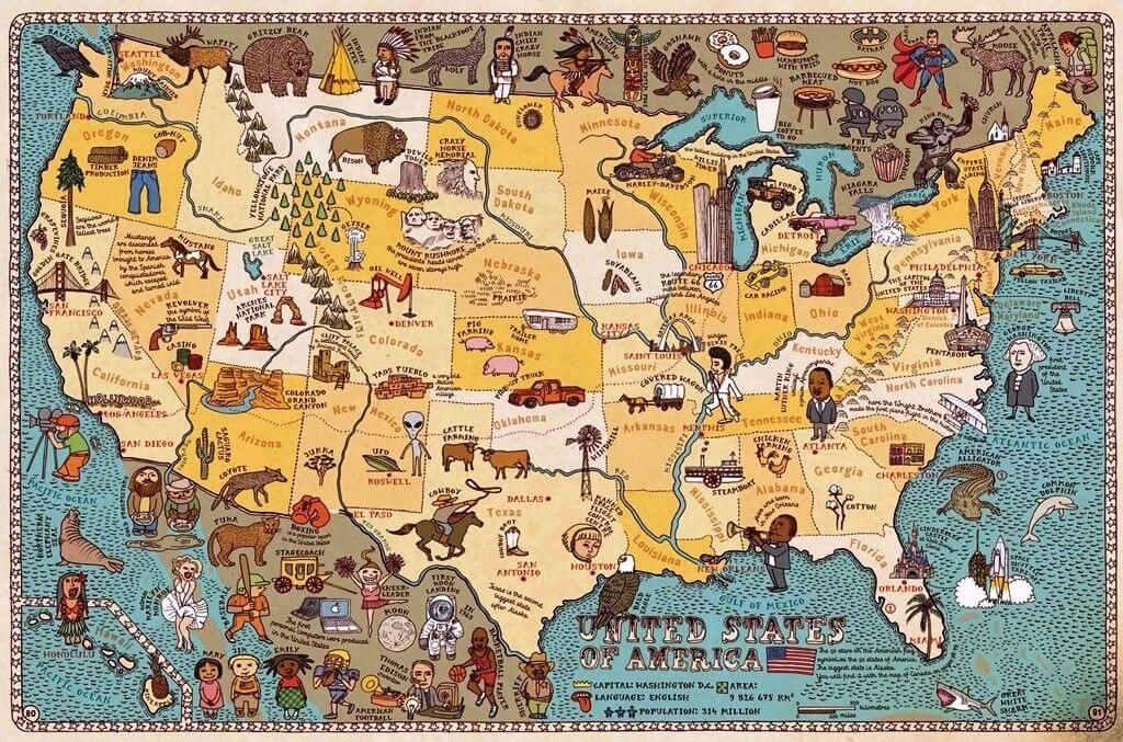 Mapa Ilustrado De Estados Unidos Mapas Ilustrados Mapas Mapa De Estados Unidos