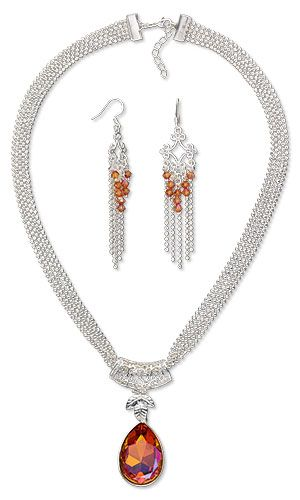 Multi-Strand Necklace and Earring Set with SWAROVSKI ELEMENTS, Silver-Finished Brass Bail and Silver-Plated Brass Links