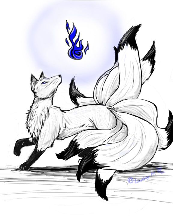 Deviantart More Like Nine Tailed Fox Spirit By Lyystra Cute Fox Drawing Fox Art Mythical Creatures Art