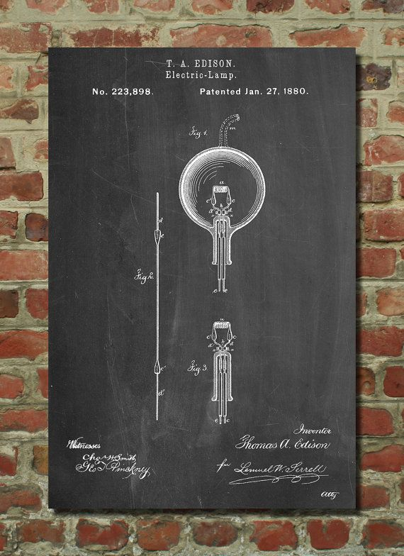 Thomas Edison Light Bulb Patent Wall Art Poster This patent poster is printed on 90 lb. Cardstock paper. Choose between several paper styles and