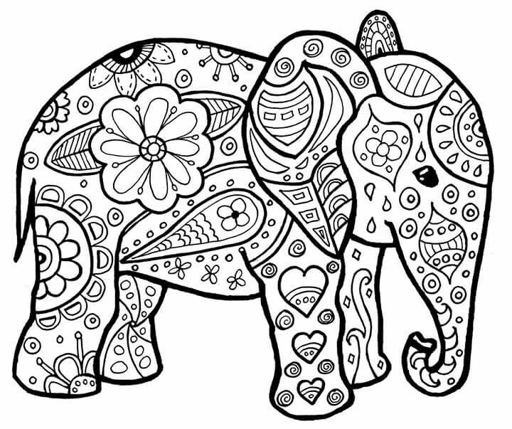 mandala elephant coloring pages easy - photo#5