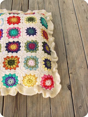 granny square pillow,,,traditional and lovely