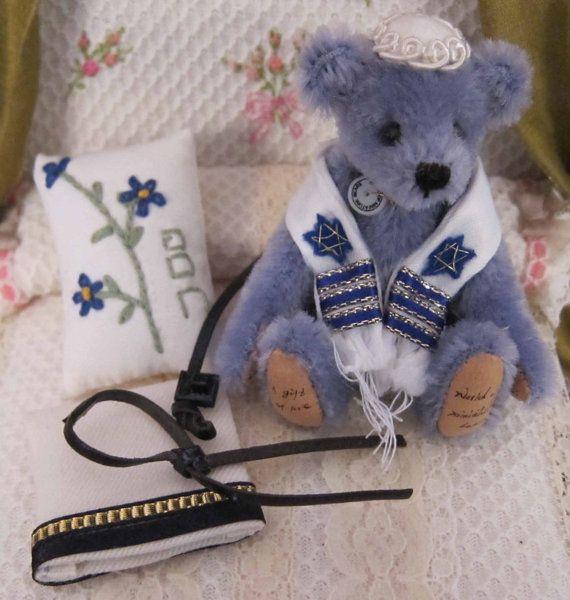 Miniature, Teddy Bear, Artist Made, Religious, Bar Mitzvah