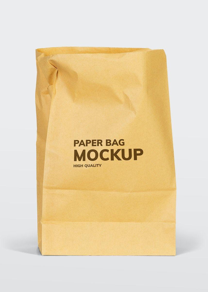 Download Download Premium Illustration Of Brown Paper Bag Mockup On A White Bag Mockup Brown Paper Bag Paper Bag