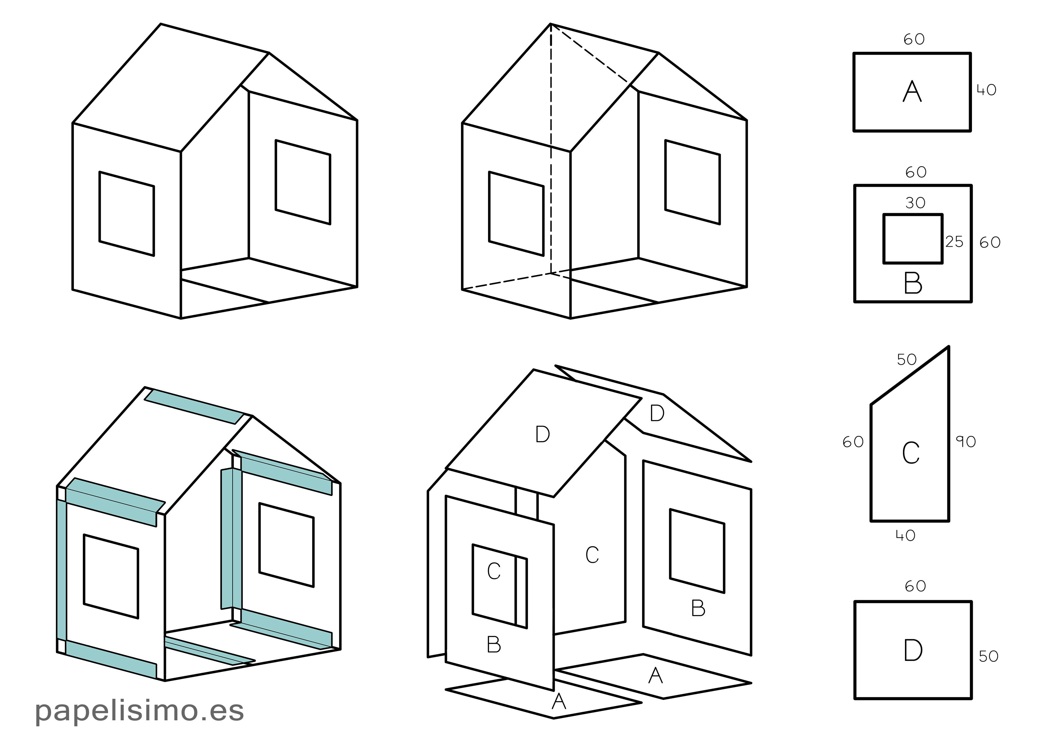 Como Hacer Casa De Cartón Con Medidas Cardboard House Casas De Cartón Casa De Cartón Casa De Muñecas De Cartón