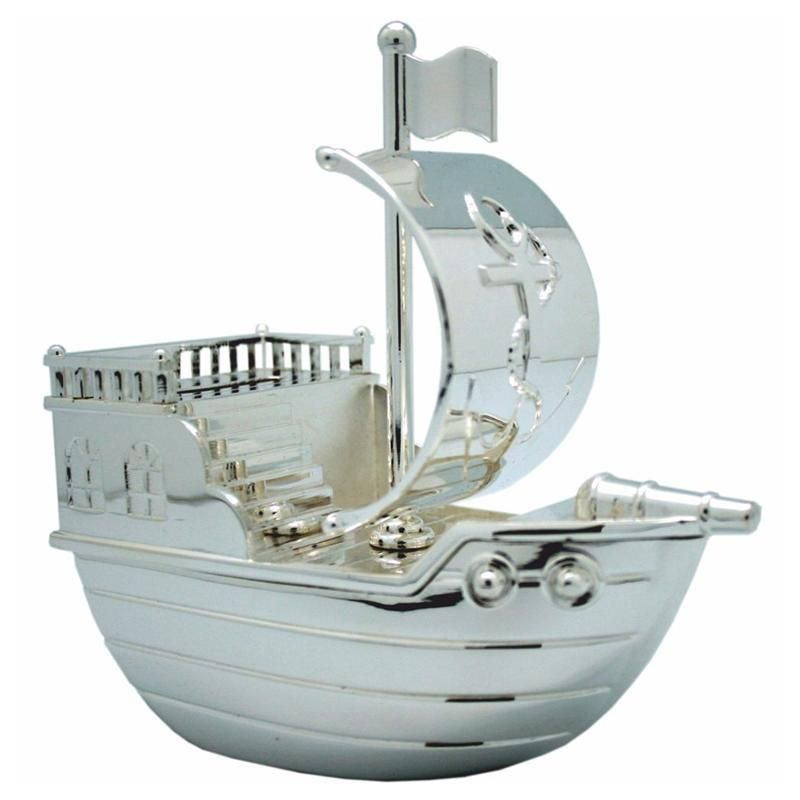 Personalised Pirate Ship Silver Plated Money Box FREE ENGRAVING Christening Gift  | eBay