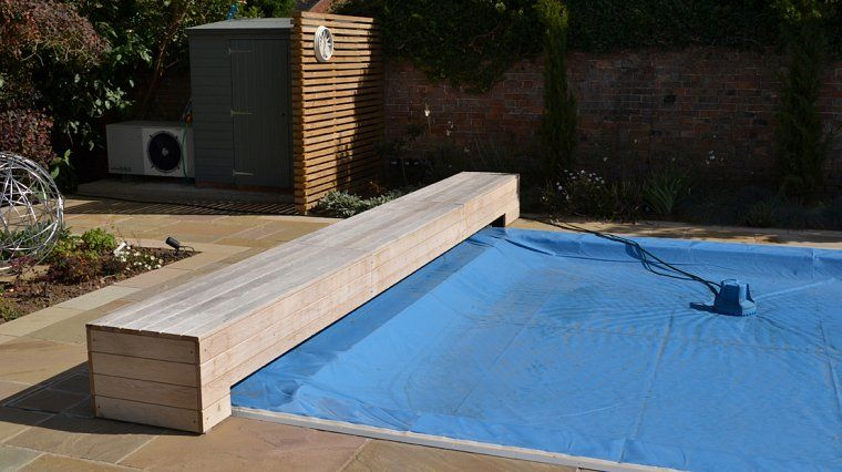 Swimming pool cover bench cabin pool swimming pool - Covering a swimming pool with decking ...
