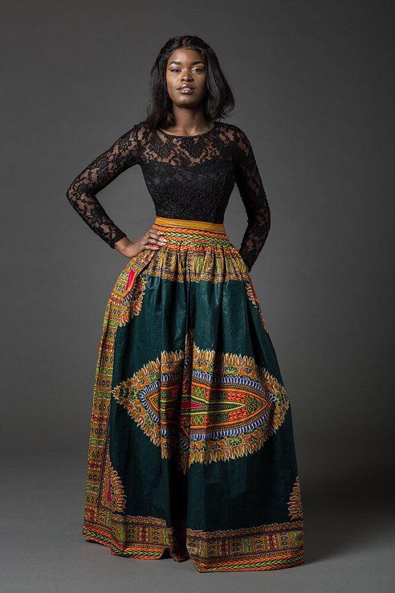 1e07d77aa9f Dashiki skirt dashiki maxi skirt African skirt African