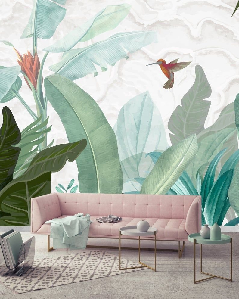 Bird and Banana Leaf Wallpaper, Tropical Trend Wall Decor