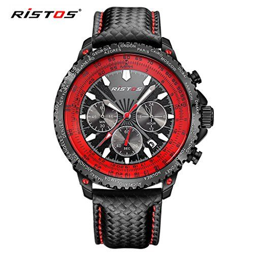 LONGBO Mens Unique Military Black Leather Band Analog Quartz Watches Real Chrono Eyes Red Hands Dial Auto Date Multifunctional Wristwatch Sportive Waterproof Luminous Watch For Man ** To view further for this item, visit the image link.