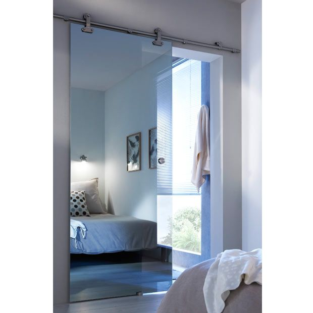 Porte coulissante verre mirage effet miroir maison porte coulissante porte coulissante - Porte en applique lapeyre ...