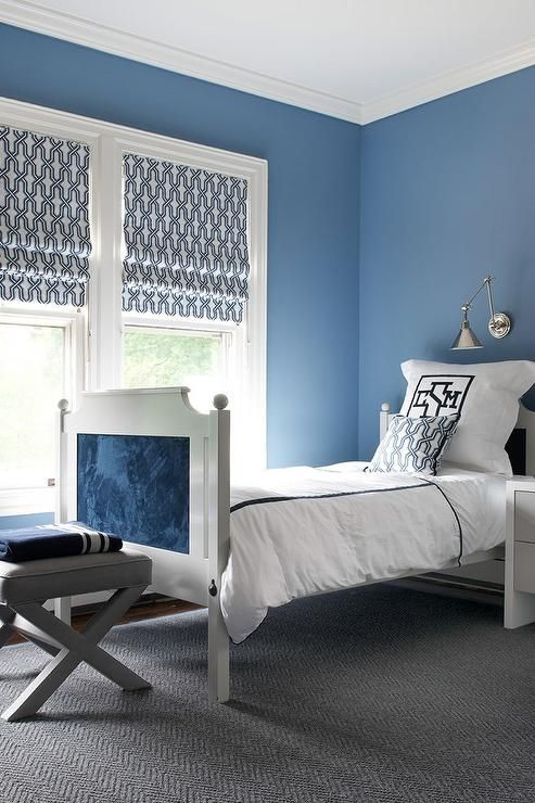 Contemporary Blue Boyu0027s Bedroom Features Walls Painted Blue Lined With A  White Twin French Bed With Headboard And Footboard Inlaid With Blue Fabric  Panels ...