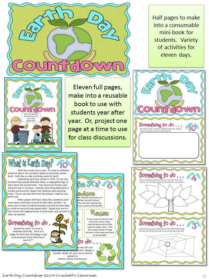 Earth Day Informational Articles And Student Activity Mini Book