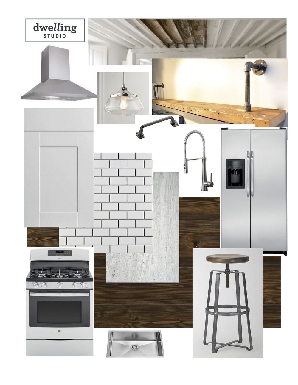 Modern Schoolhouse Kitchen Design Mood Board