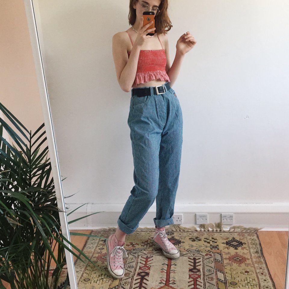 f96f3b12ef8481 Yaaaaaas gingham mom jeans!! Beautiful true vintage blue and - Depop