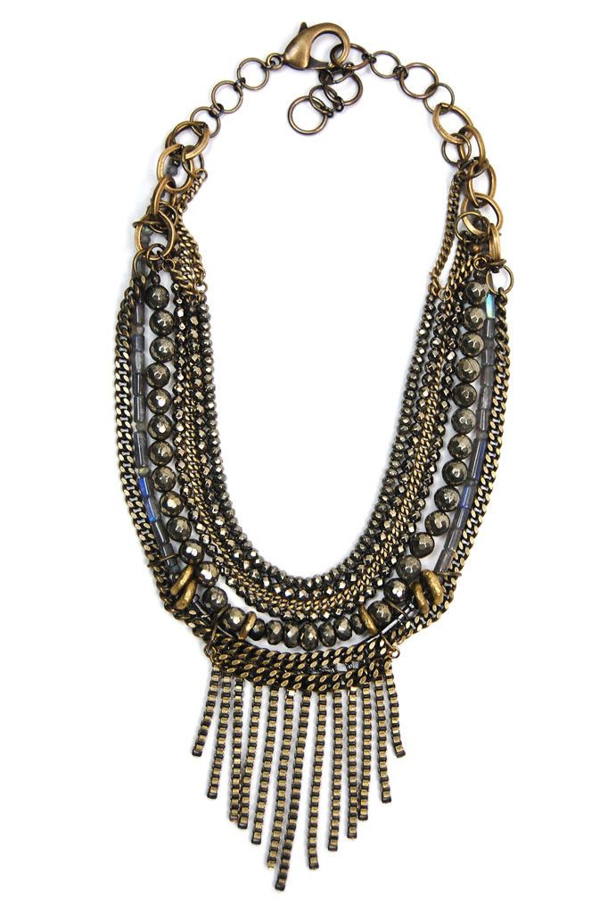 Chain Pyrite Fringe Bib – Ingrid Ysla