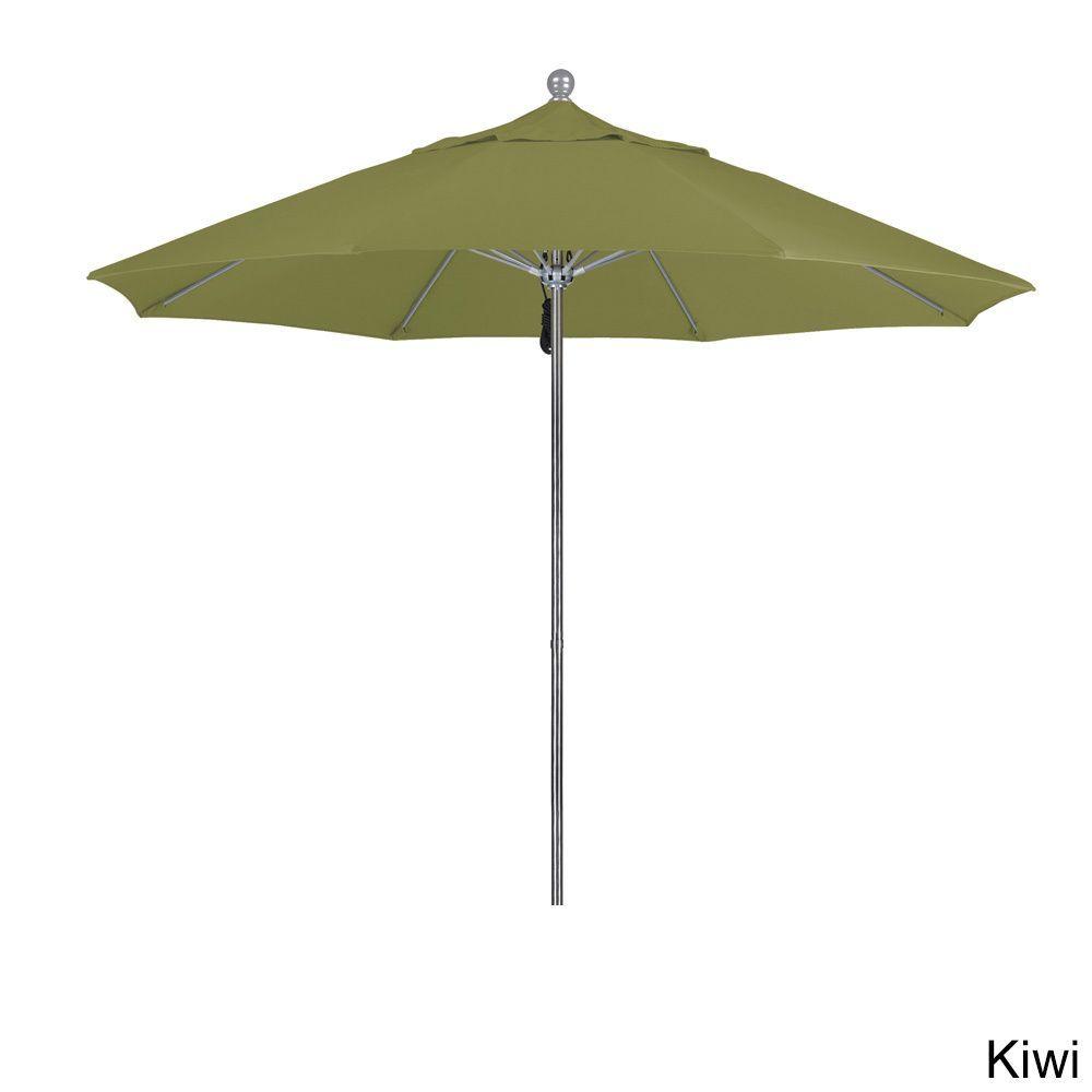 California Umbrella 9' Rd. Frame, Fiberglass Rib Market Umbrella, Push Open,Anodized Silver Finish, Olefin Fabric