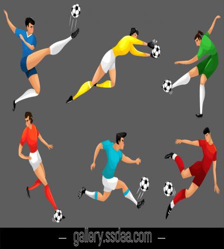 تصميم رياضي لاعبين كرة قدم في وضعيات مختلفة ملف مفتوح Graphic Design Logo Family Tree Drawing Vector Free