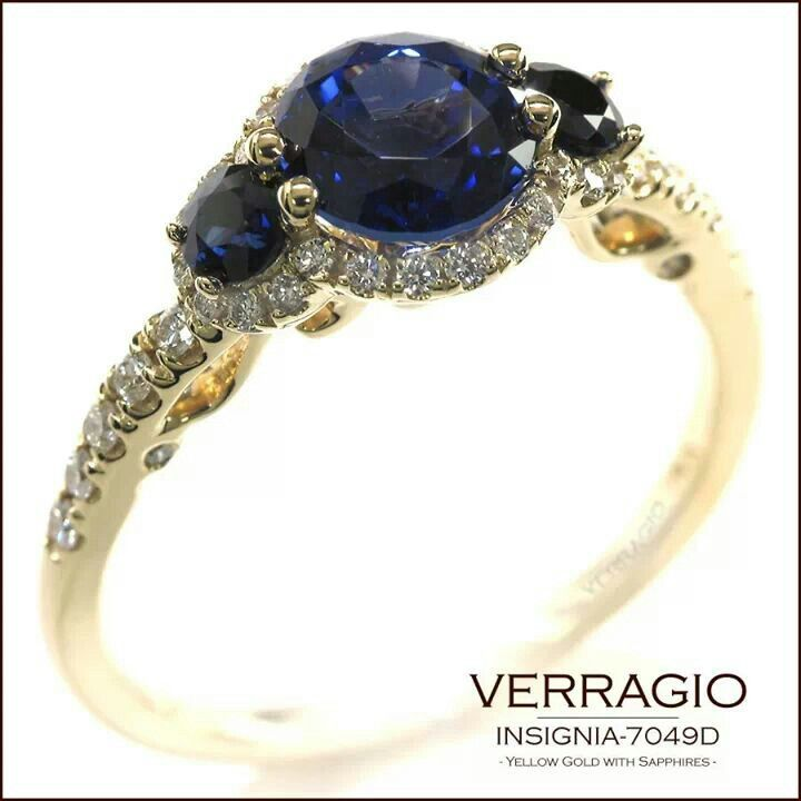 Verragio Rings, sapphire, white diamonds, gold, vintage