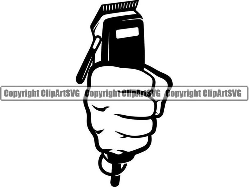 Barber Logo 36 Hand Fist Holding Clippers Salon Shop Haircut Etsy Barber Logo Hand Fist Barber