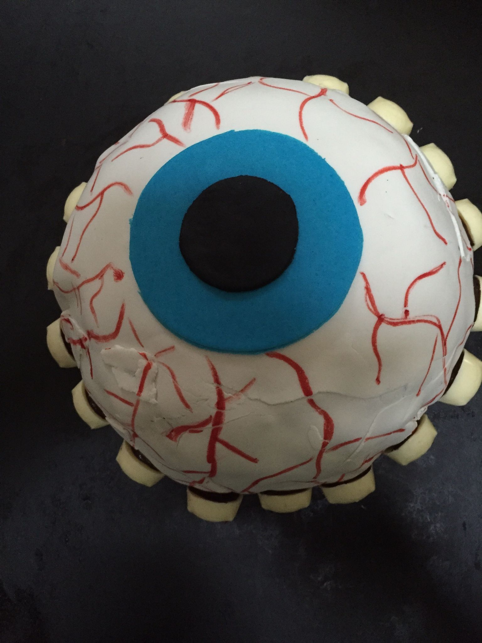 Eye of cathulu birthday cake with chocolate skulls around the bottom as further terraria decorations