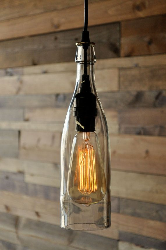Clear wine bottle hanging pendant lamp recycled glass bottle clear wine bottle pendant lamp aloadofball Image collections