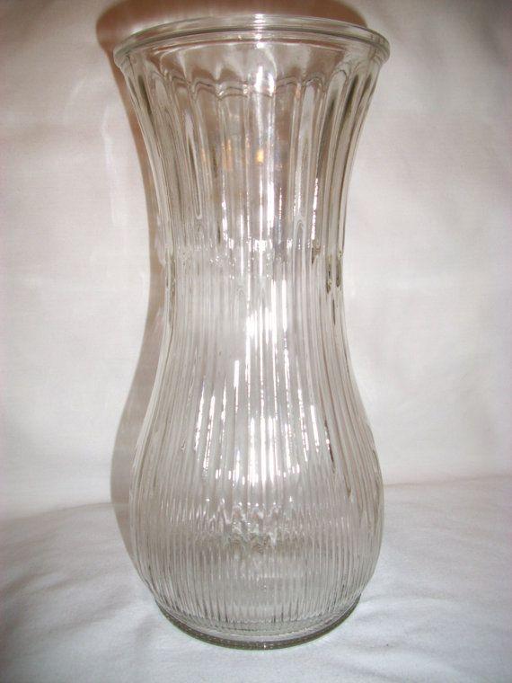 Vintage Hoosier Glass Vase With Ribbed Arrow Pattern Hoosier Glass