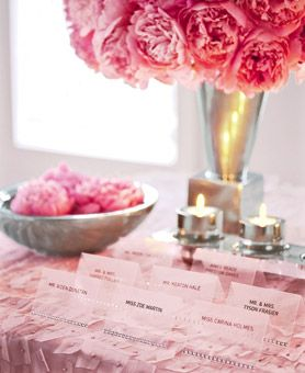Pastel and brights pinks together, escort card table