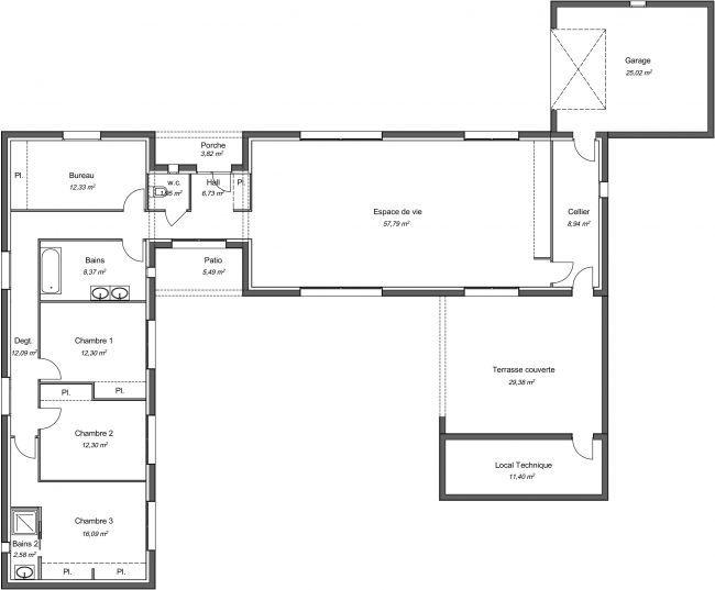 Maison contemporaine plain-pied Palmier avec plans - Demeures d'Occitanie Constructeu… en 2020 ...