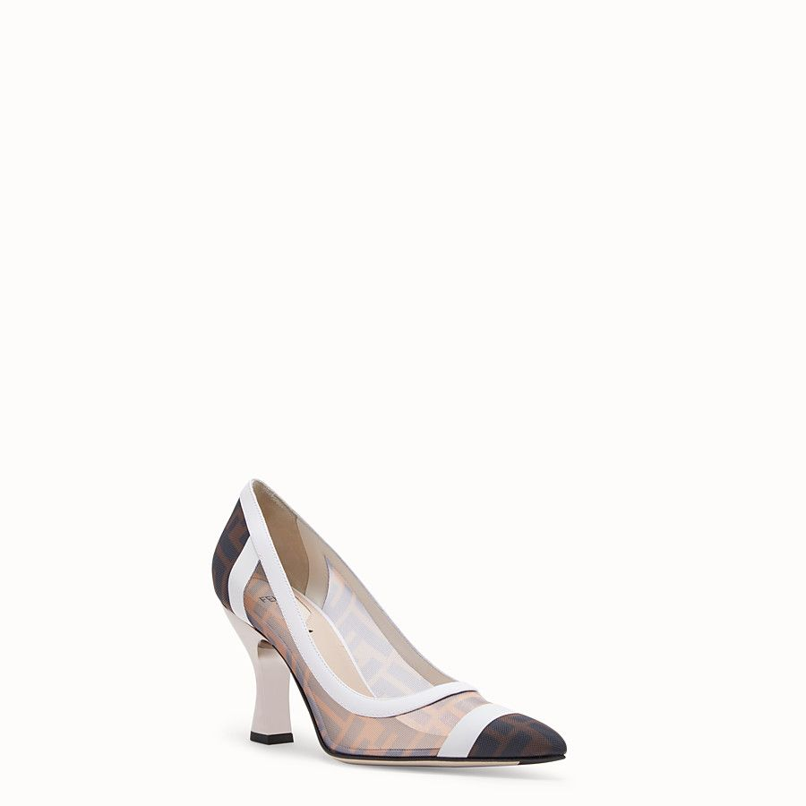 Fendi Mesh And White Leather Court Shoes 850 Leather Court Shoes Leather Court Pump Shoes