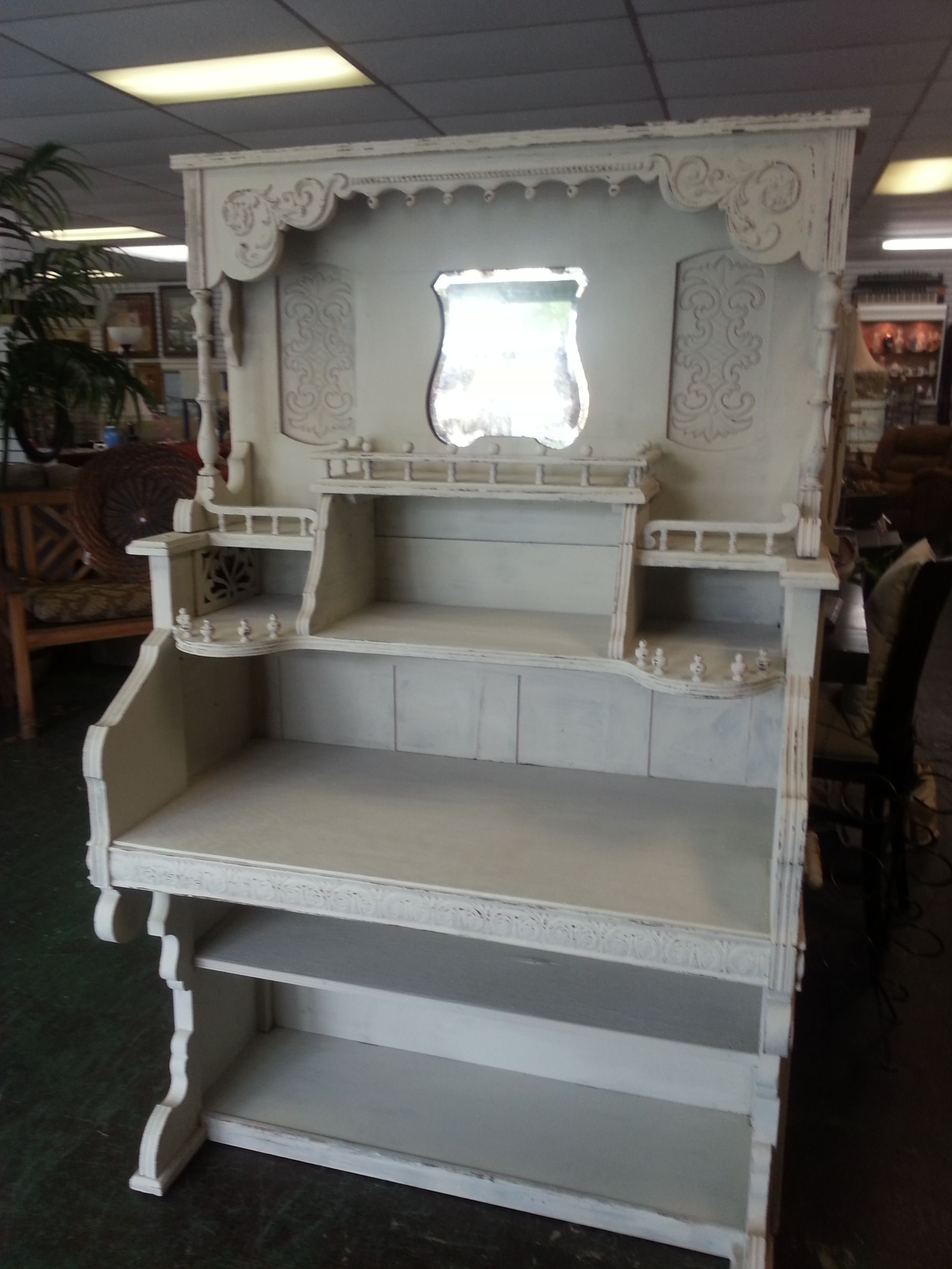Antique Victorian Pump Organ Desk Steampunk Shabby Chic Painted Up-cycle